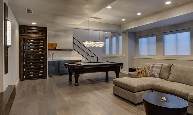 basement home theater pool table and bar transitional