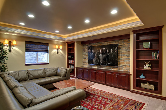 Basement home theater tv wall traditional basement for 13 a table theatre