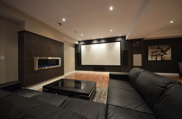 Lovely Basement Home Theatre Transitional Basement