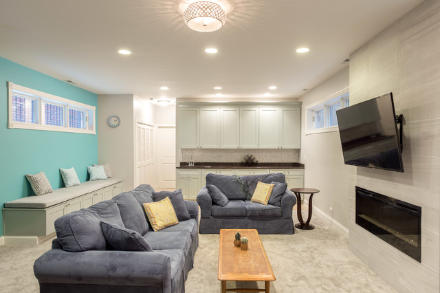 basement living room contemporary basement other by chi