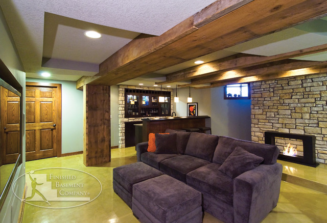Creative industrial lamps - Basement Living Room Eclectic Basement Minneapolis