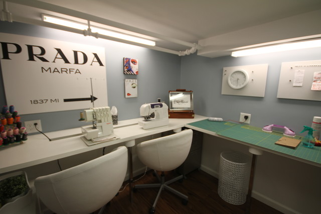 Contemporary kitchen window design - Wine Room Sewing Studio Bedroom Laundry Room Contemporary Basement