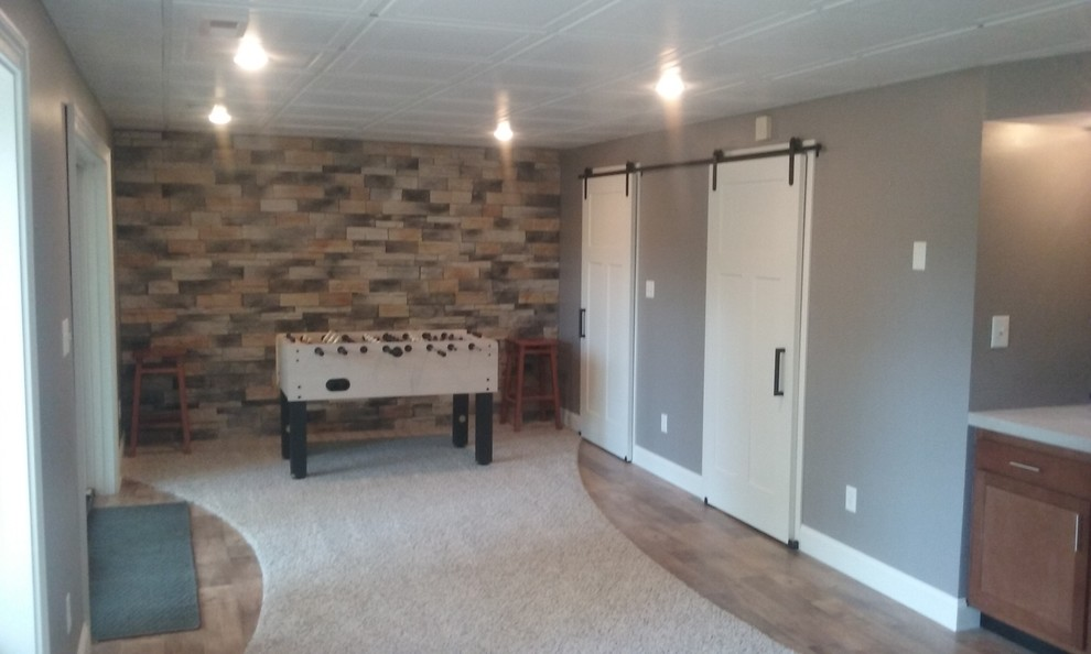 Example of a trendy basement design in Indianapolis