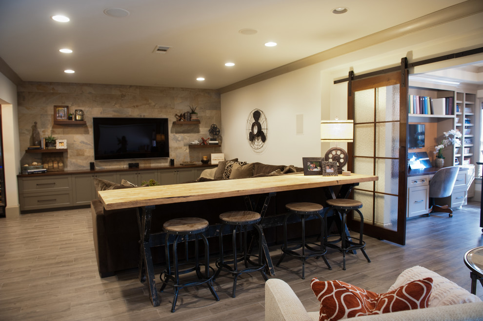 Example of a transitional basement design in Atlanta
