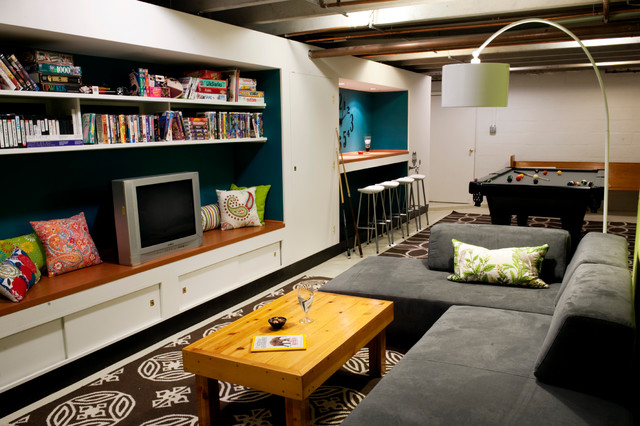 Basement pool room teen hangout contemporary basement for Teenage playroom design ideas