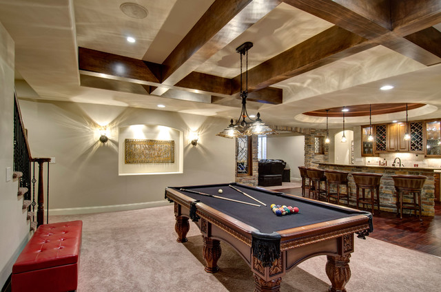 Basement Pool Table Bar Traditional Basement Denver By - Pool table movers denver
