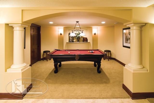 Basement Pool Table Room Traditional Basement