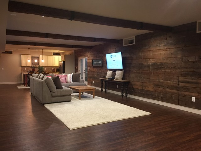 Basement reclaimed lumber accent wall for Farmhouse basement