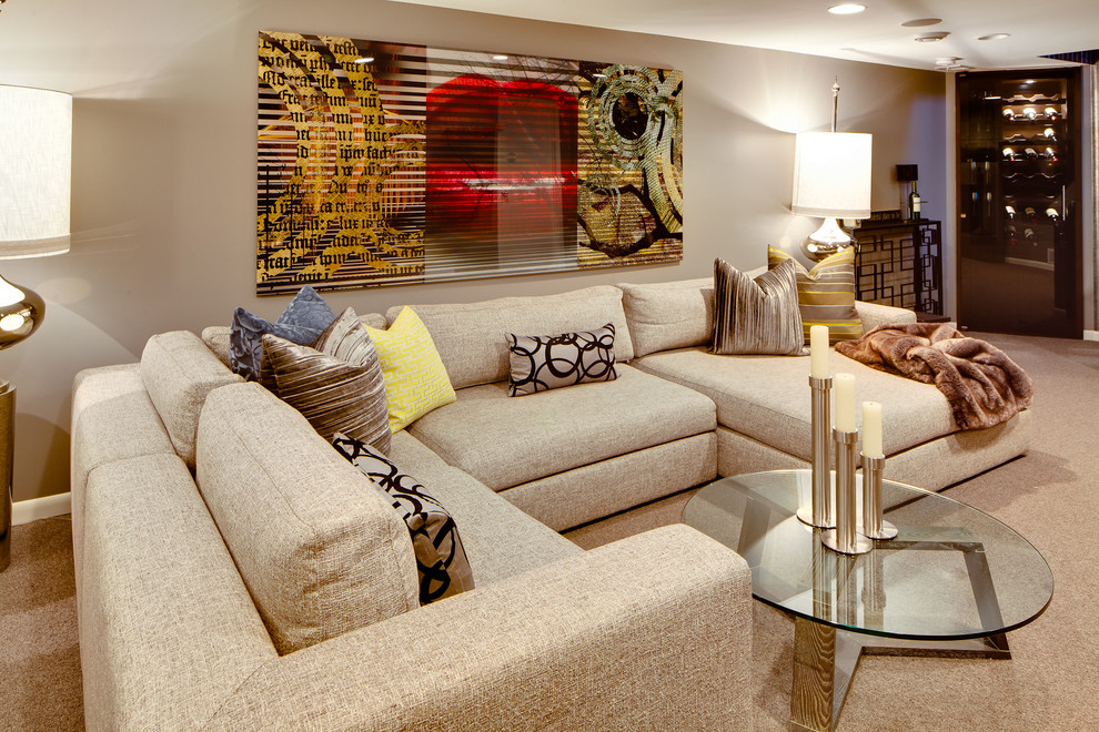 Basement - contemporary carpeted and beige floor basement idea in Minneapolis with gray walls and no fireplace