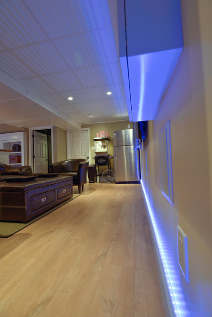 basement remodel led strip lights traditional basement philadelphia by. Black Bedroom Furniture Sets. Home Design Ideas