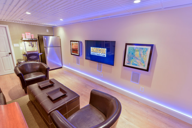 Basement Remodel Led Strip Lights Traditional Basement