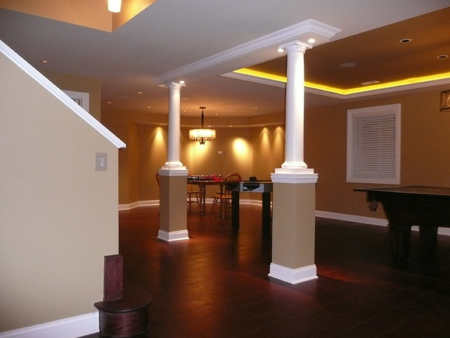 Wonderful Basement Lighting Part - 12: Basement Remodel Lighting Transitional-basement