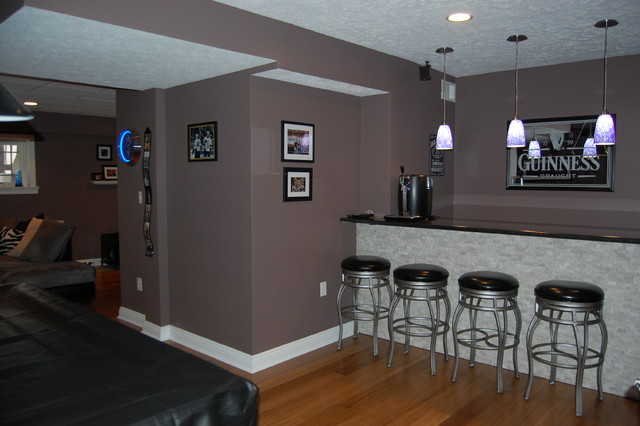 Basement remodel to Modern Sports Bar - Contemporary - Basement - other metro