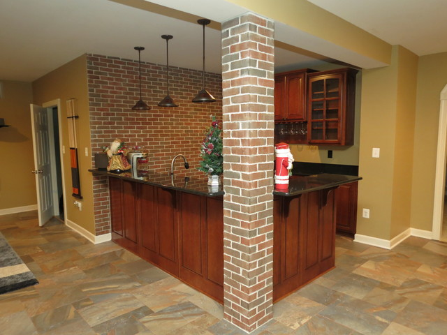 Basement Remodel with New Bar and Ceramic Tile Floor traditional-basement