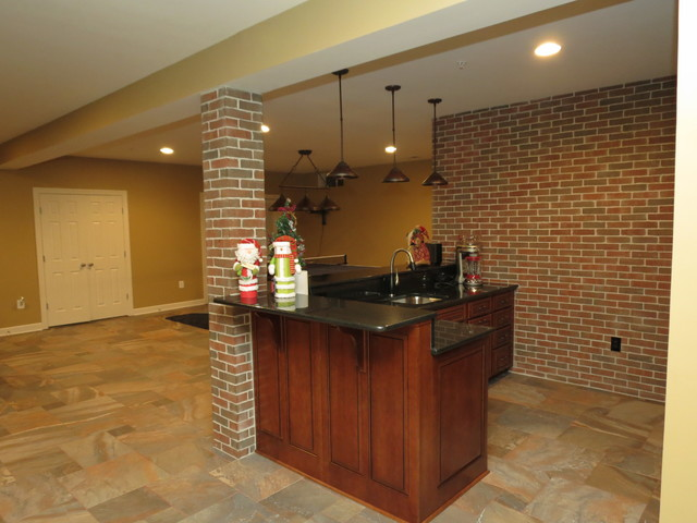 Basement Remodeling Baltimore Model Interior basement remodel with new bar and ceramic tile floor - traditional