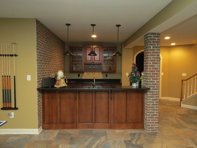 Basement Remodel With New Bar And Ceramic Tile Floor Traditional Delectable Basement Remodeling Baltimore Style