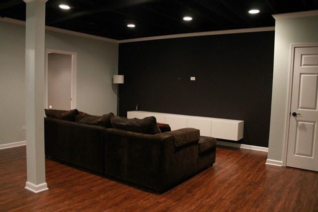 basement remodeling idea with awesome theatre - Modern - Basement - Chicago