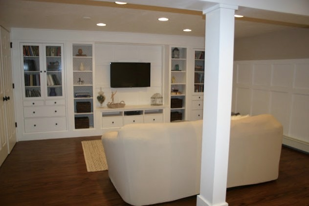Basement renovation traditional basement boston by Design your own tv room
