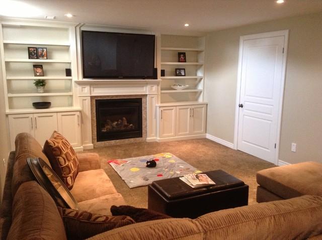 Basement renovation contemporary basement toronto for Timberwood custom kitchens