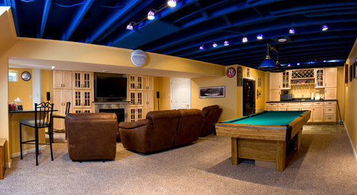 the painted basement ceiling did you prime it first rh houzz com basement ceiling painting basement ceiling painting