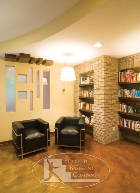 Basement Shelves Concrete Floor Modern Basement