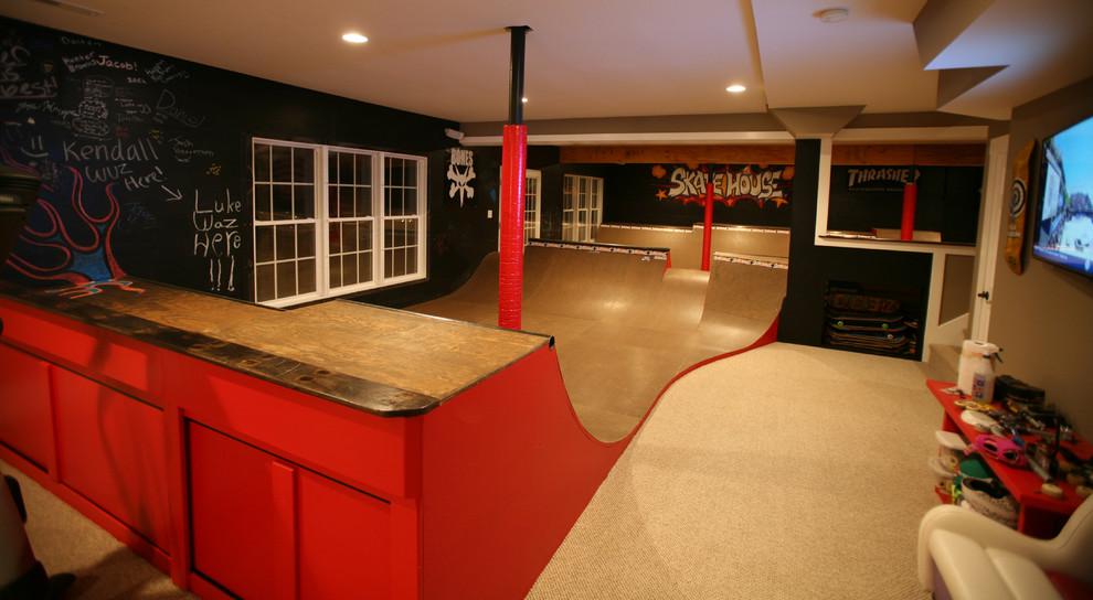 Inspiration for a large craftsman walk-out basement remodel in Charlotte