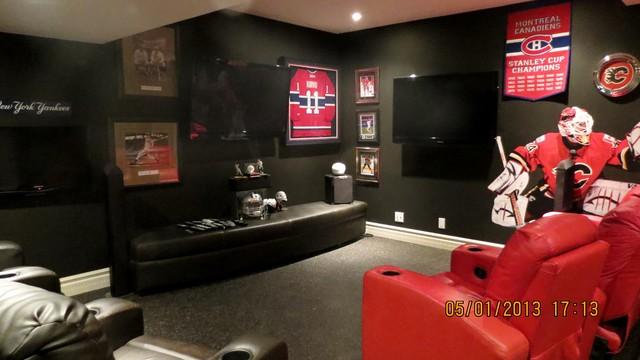 Basement sports bar contemporary-basement