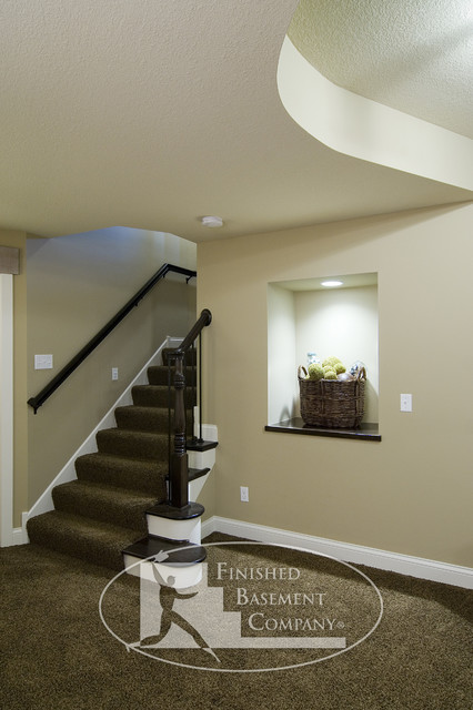 Basement stairs and entry way traditional basement for Finishing a basement step by step guide