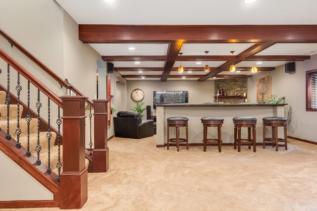 Basement stairs and knee wall traditional basement for Finishing a basement step by step guide