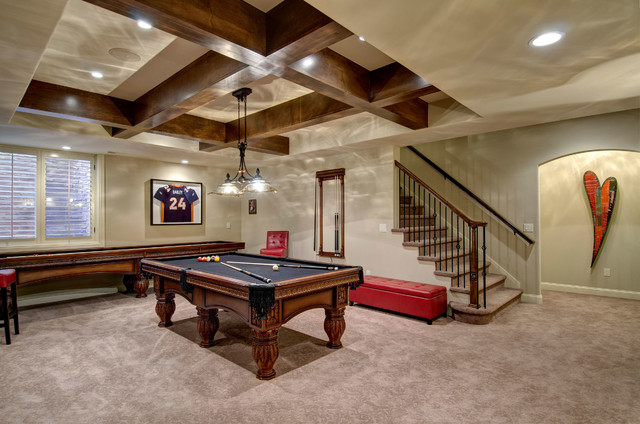 Basement Stairs amp Pool Table Traditional