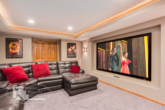 Basement Remodeling Minneapolis basement theater with projector tv - contemporary - basement