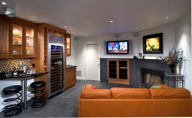 Basement Tv Room Modern Basement Dc Metro By