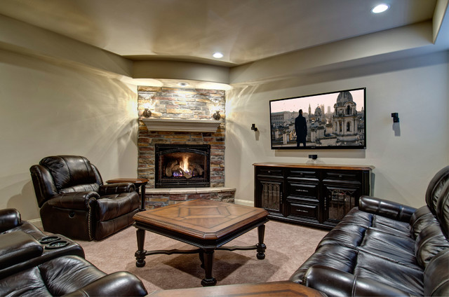 Basement Tv Wall Amp Fireplace Traditional Basement