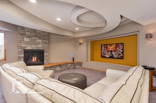 Basement TV Wall & Fireplace - Contemporary - Basement - minneapolis ...