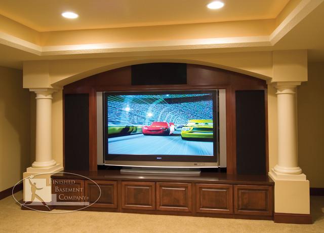 Basement TV Wall - Traditional - Basement - minneapolis - by Finished Basement Company