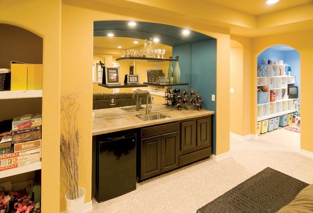 Basement walk up wet bar transitional basement for Walk in basement