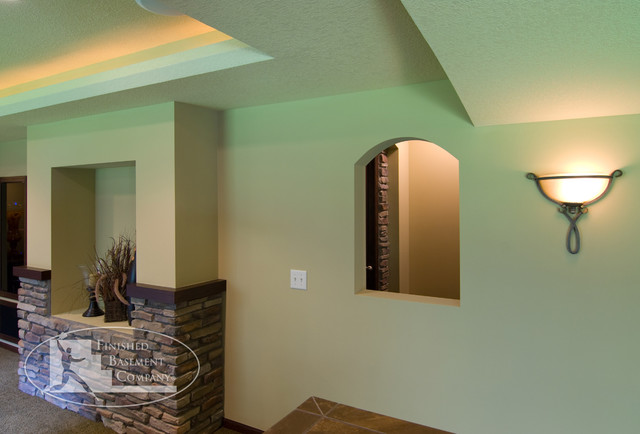 Wall Sconces For Basement : Basement Wall & Sconce - Traditional - Basement - minneapolis - by Finished Basement Company