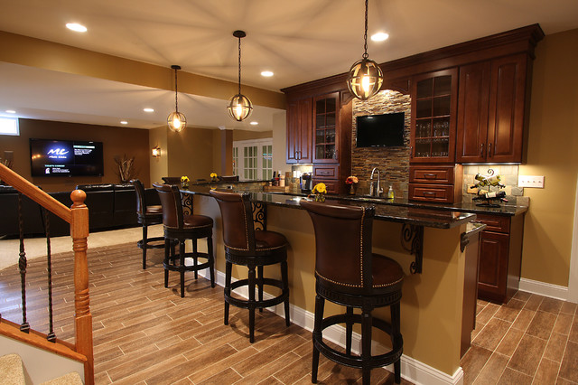 Exceptional Basement Wet Bar Traditional Basement