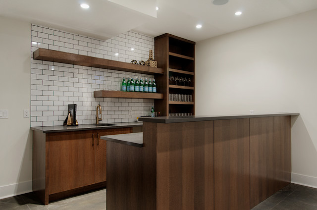 Basement Wet Bar Contemporary Basement Calgary By Veranda Estate Home