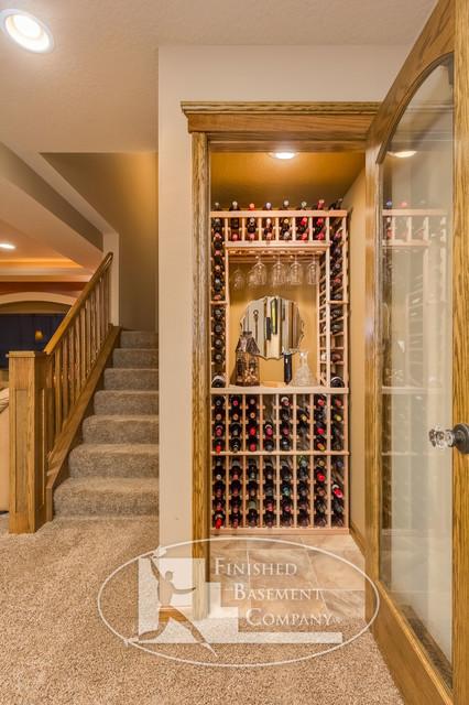 Basement wine storage closet traditional basement for Basement closet ideas