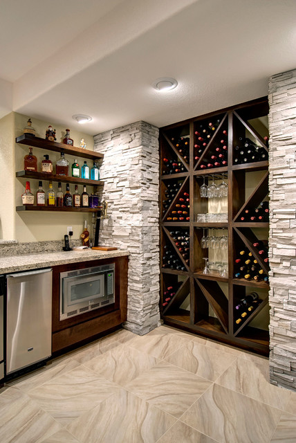 Basement wine storage transitional basement denver by finished basement company - Finished basement storage ideas ...
