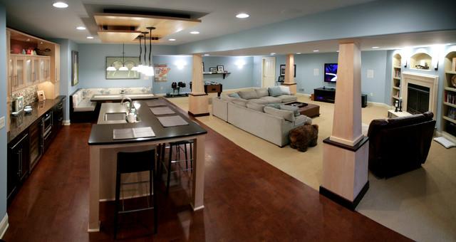 Basement with Kitchen contemporary-basement