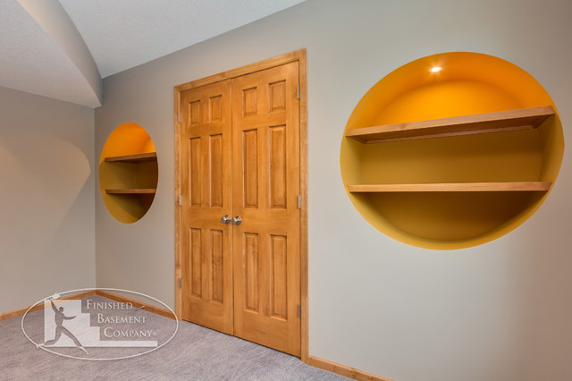 basement with round wall niche shelves basement