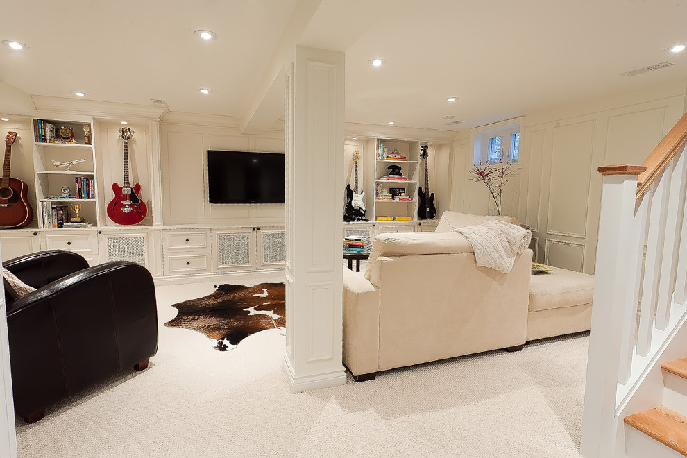 Inspiration for a contemporary white floor basement remodel in Ottawa