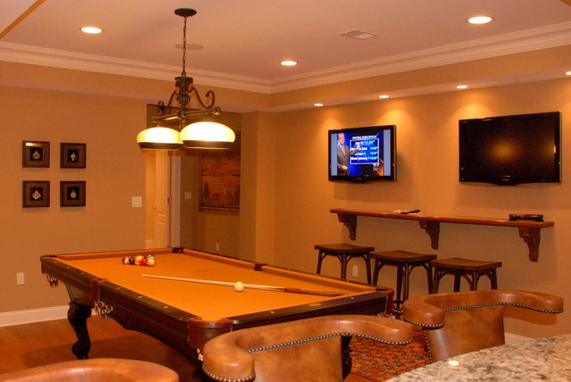 Billiard Room With TVs Warren NJ Traditional
