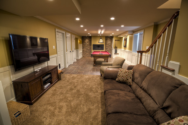 Billiards Room Traditional Basement Philadelphia West Chester Design Build Llc