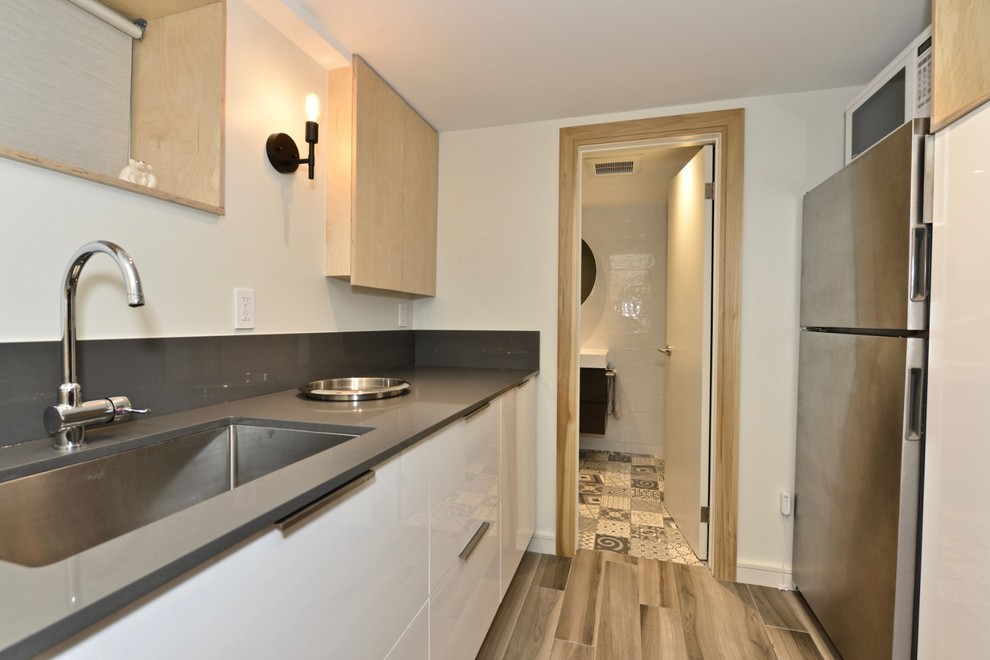 Example of a mid-sized danish underground porcelain tile and gray floor basement design in Toronto with white walls