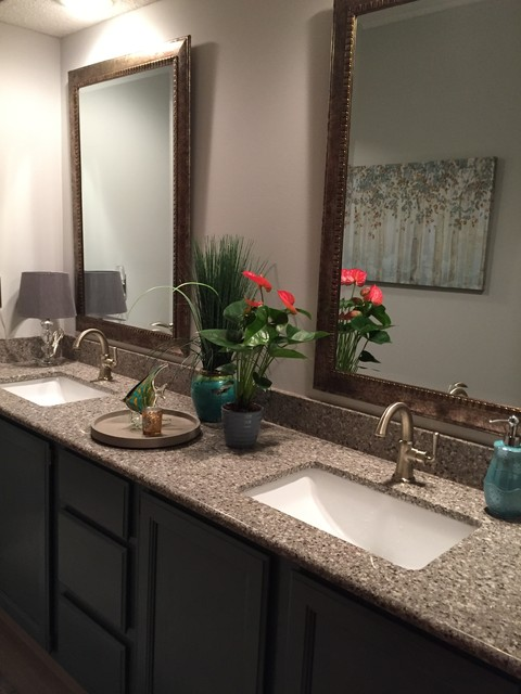 Blue gray inspired hall bath transitional basement for Classic home designs collierville tn