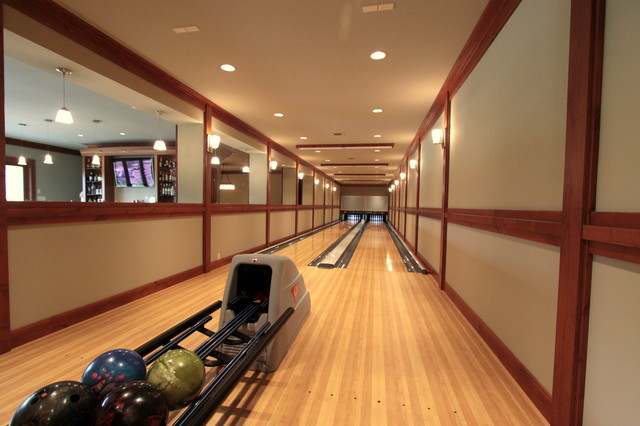 Bowling Alley modern basement