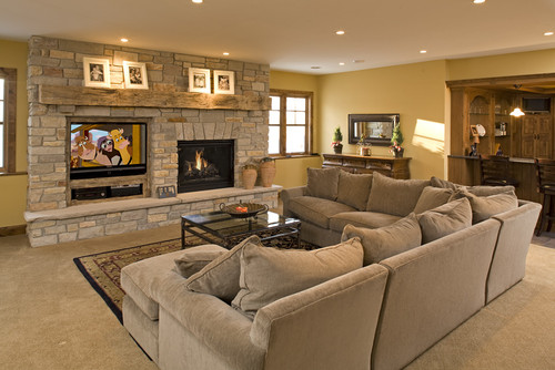 traditional basement by chanhassen design build firms knight